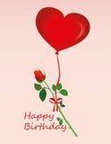 Fleur rose accrochant sur un ruban rouge avec un arc sur les ballons à air chauds illustration libre de droits