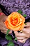 Fleur rose d'orange Images stock
