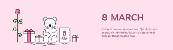 Fleur Rose Teddy Bear Set Collection Banner de boîte de présent du jour de la femme de mars Illustration Libre de Droits