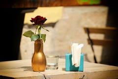 Fleur rouge dans une bouteille en verre Photographie stock libre de droits
