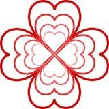 Fleur rouge des coeurs illustration de vecteur