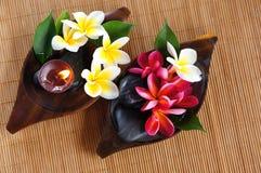 Fleur rouge et blanche de frangipani avec la bougie. photos stock