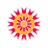 Fleur rouge et jaune Élément décoratif Images stock