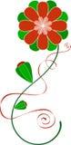 Fleur rouge et verte illustration stock