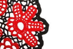 Fleur rouge tricotée Photo stock