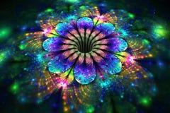 Fleur rougeoyante abstraite d'arc-en-ciel sur le fond noir Photo libre de droits