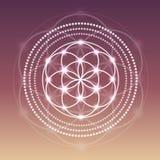 Fleur rougeoyante de vecteur d'illustration de symbole de la vie sur un fond de gradient Image stock