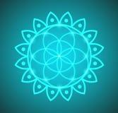 Fleur rougeoyante de vecteur d'illustration de symbole de la vie sur un fond de gradient Image libre de droits
