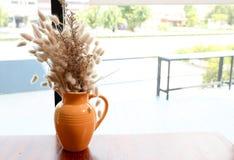 Fleur sèche dans un vase orange dans un café Images libres de droits
