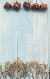 Fleur sèche de Rose sur le fond en bois bleu Images libres de droits