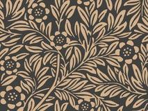 Fleur sans couture de feuille d'usine de nature de jardin botanique de fond de modèle de damassé de vecteur rétro Conception brun illustration de vecteur