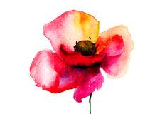 Fleur stylisée de pavot Image libre de droits