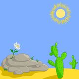Fleur sur des pierres et des cactus illustration de vecteur