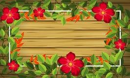 Fleur sur le fond en bois illustration de vecteur