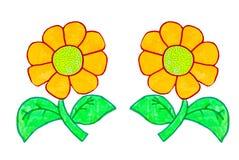 Fleur sur le papier Images stock