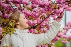 Fleur tendre Lumineux et vibrant Doux et tendre E Le rose est mon favori Peu fille appr?cient le ressort photo libre de droits