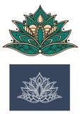 Fleur verte de Paisley avec les pétales formés Photographie stock libre de droits
