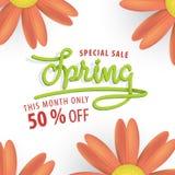 Fleur verte et orange de vente de ressort 50 pour cent outre de desig de titre Photo libre de droits