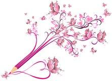 Fleuri floral de petit morceau créatif de crayon. Concept d'art illustration stock