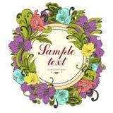 Fleurissez autour du cadre, fond de vecteur, bannière, frontière florale, guirlande, ornement de vintage Photos stock