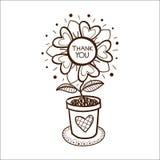 Fleurissez dans un pot avec vous remercient de textoter Photo libre de droits