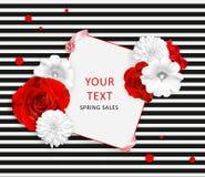 Fleurissez la bannière sur le fond rayé noir blanc Roses rouges, mauve blanche, fleurs de rudbeckia et place pour le texte Images stock