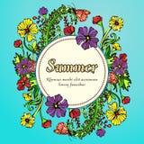 Fleurissez la guirlande, guirlande, cadre de fleur, la frontière, paysage d'été dans le boho de style, hippie Illustration Libre de Droits