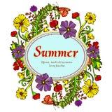 Fleurissez la guirlande, guirlande, cadre de fleur, la frontière, paysage d'été dans le style du boho, hippie Fleurs multicolores Illustration Libre de Droits