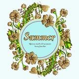 Fleurissez la guirlande, guirlande d'or, cadre de fleur, frontière, paysage d'été Illustration de Vecteur