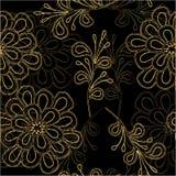 Fleurissez la ligne d'or modèle sans couture sur le fond noir illustration libre de droits