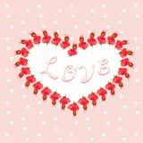 Fleurissez la trame Cadre de forme de coeur de vecteur avec des fleurs illustration stock