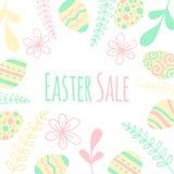 Fleurissez la trame Illustration de bannière spéciale de vente de Pâques avec l'oeuf rose Photos stock