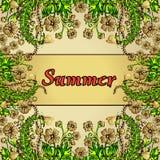 Fleurissez le cadre, frontière d'or, la carte, ornement d'été dans le boho de style chic Illustration de Vecteur