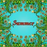 Fleurissez le cadre, frontière d'or, la carte, ornement d'été dans le boho de style chic, hippie Fleurs abstraites d'or sur un fo Illustration Stock