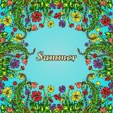 Fleurissez le cadre, frontière, la carte, ornement d'été dans le style du boho chic, hippie Illustration de Vecteur