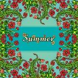 Fleurissez le cadre, frontière, la carte, ornement d'été dans le style du boho chic, hippie Fleurs rouges abstraites sur un fond  Illustration Stock