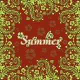 Fleurissez le cadre, l'été, frontière des fleurs, carte Fleurs abstraites vertes sur un fond rouge Illustration de Vecteur