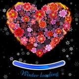 Fleurissez le coeur en feu d'isolement sur le fond noir WI de coeur du feu Photos libres de droits