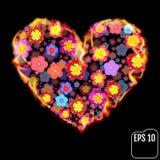Fleurissez le coeur en feu d'isolement sur le fond noir Coeur du feu Photos stock