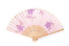 Fleurissez le fan peint de main, fan de main de style chinois Photographie stock