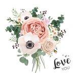 Fleurissez le groupe floral de bouquet, objet de conception de boho de vecteur, élément illustration de vecteur