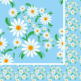 Fleurissez le modèle sans couture avec des camomilles sur un fond bleu. Photo libre de droits
