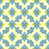 Fleurissez le modèle sans couture de vecteur abstrait de pétales sur un fond jaune Images stock