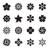 Fleurissez les graphismes Icônes noires d'isolement sur un fond blanc Illustration de vecteur Illustration Stock