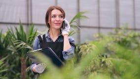 Fleuriste parlant au téléphone en serre chaude clips vidéos