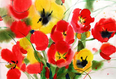 Fleurit des tulipes, aquarelle Photographie stock