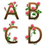 Fleurit l'alphabet avec les roses rouges Images libres de droits