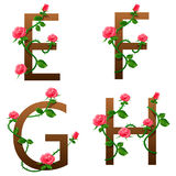 Fleurit l'alphabet avec les roses rouges Photographie stock libre de droits