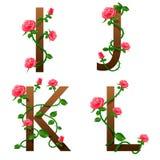 Fleurit l'alphabet avec les roses rouges Photo libre de droits