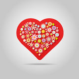 Fleurit la carte de voeux de coeur Image stock